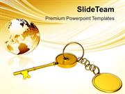 Golden Key Chain With Globe PowerPoint Templates PPT Themes And Graphi