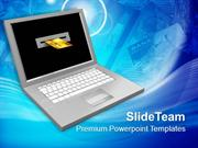 Laptop And Credit Card Online Transaction Concept PowerPoint Templates