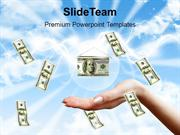 Money Falling To Hands Over Blue Sky Background PowerPoint Templates P