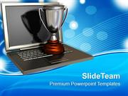 Trophy On Top Of An Open Laptop PowerPoint Templates PPT Themes And Gr