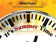 White Clock With Word It's Summer Time PowerPoint Templates PPT Themes