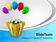 Gift In Siver  Ribbon With Balloons PowerPoint Templates PPT Themes An