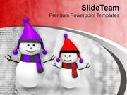 Snowman In Purple And Red PowerPoint Templates PPT Themes And Graphics
