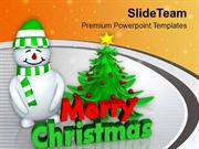 Snowman With Christmas Tree Abstract PowerPoint Templates PPT Themes A