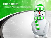 Snowman With Green Cap PowerPoint Templates PPT Themes And Graphics 01