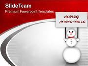 Snowman With Merry Christmas Banner PowerPoint Templates PPT Themes An