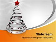 Stylish Silver Ring With Red Star Christmas PowerPoint Templates PPT T