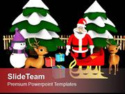 Christmas Scene Santa Ready Giving Gifts PowerPoint Templates PPT Them