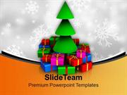 Christmas Tree With Colorful Gifts Celebration PowerPoint Templates PP