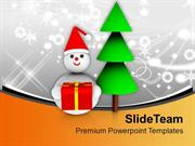 Christmas Tree With Snowman Celebration PowerPoint Templates PPT Theme