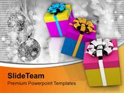 Illustration Of Gifts With Different Wrappings Design PowerPoint Templ