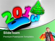 Mouse With 2013 Shopping Bags Christmas Tree PowerPoint Templates PPT