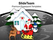Santa With Reindeer Snowman Hut Work PowerPoint Templates PPT Themes A