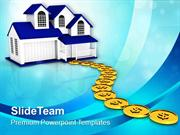 Building Path To Home With Dollar Coins Growth Business PowerPoint Tem