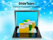 Files System With Laptop Technology PowerPoint Templates PPT Themes An