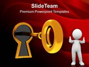 Golden Key In Keyhole Success Business PowerPoint Templates PPT Themes