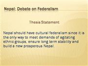 Road to Cultural Federalism in Nepal