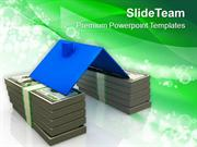 House Roof On Stack Of Money Real Estate PowerPoint Templates PPT Them