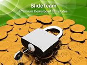 Padlock On Dollar Coins Financial Business PowerPoint Templates PPT Th