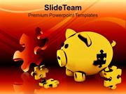 Pigg Bank And Puzzles Economic Business PowerPoint Templates PPT Theme