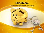 Piggy Bank Locked With Keys Finance Security PowerPoint Templates PPT