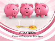 Piggy Banks And Key To Success PowerPoint Templates PPT Themes And Gra