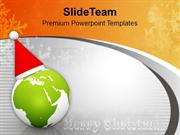 Globe With Santa Cap On Grey Background PowerPoint Templates PPT Backg