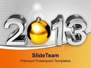 Happy New Year 2013 Christmas Bell PowerPoint Templates PPT Background