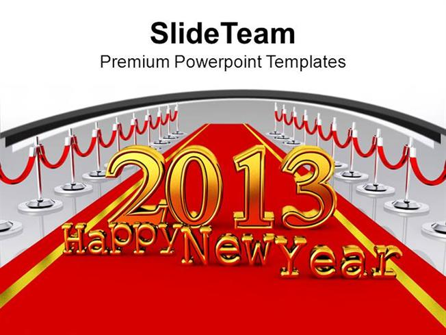 new year party 2013 on red carpet powerpoint templates ppt backgro