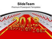 New Year Party 2013 On Red Carpet PowerPoint Templates PPT Backgrounds