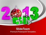 New Year Party Gifts Balls Bells 2013 PowerPoint Templates PPT Backgro