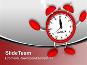 Red Alarm Clock Midnight New Year PowerPoint Templates PPT Backgrounds