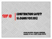 Top 10 Construction Safety Slogans for 2013
