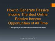 How to Generate Passive Income The Best Online Passive Income Opportun