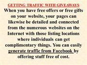 Getting traffic from Facebook with free giveaways!