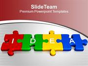 3d Jigsaw Puzzle Pieces With Idea Thinking PowerPoint Templates PPT Ba