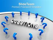 Blue Question Marks Around The Word Marketing PowerPoint Templates PPT