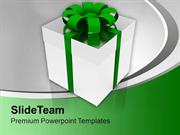 Silver Gift Box With Green Ribbon Holiday PowerPoint Templates PPT The