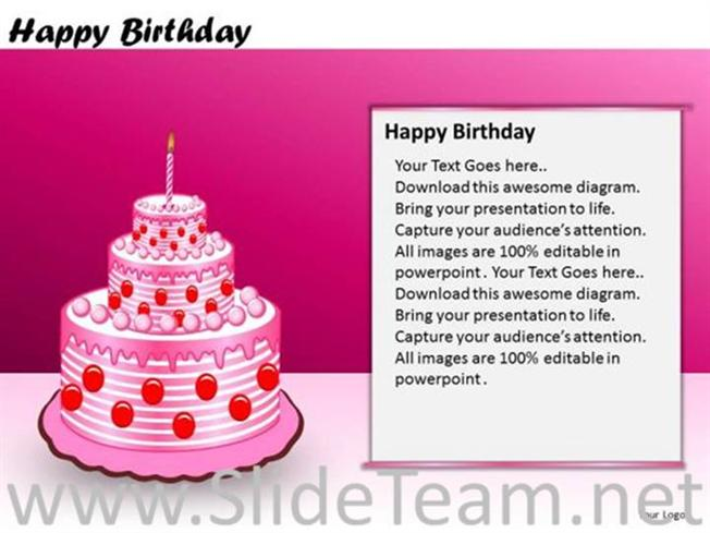 Candle On Birthday Cake Powerpoint Diagram