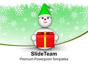 Snowman With Gift Celebration PowerPoint Templates PPT Themes And Grap