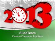 Time Concept With Clock New Year Red PowerPoint Templates PPT Themes A
