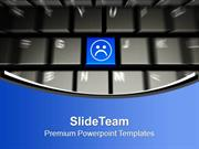 Computer Keyboard With Sad Smiley Face PowerPoint Templates PPT Themes