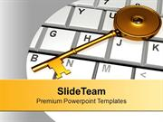 Golden Key On Keyboard PowerPoint Templates PPT Backgrounds For Slides