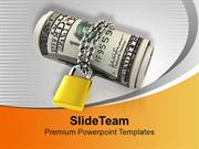 US Dollars Locked And Chained Security PowerPoint Templates PPT Backgr