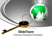 Golden Key And Planet Global Field Business PowerPoint Templates PPT T