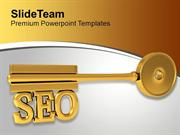 Golden Key With Word Seo Finance Marketing PowerPoint Templates PPT Th