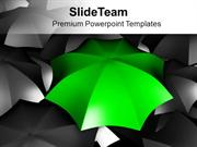 Green Umbrella Standing Out From Black Umbrellas PowerPoint Templates