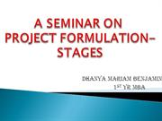 PROJECT FORMULATION STAGES