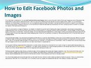 How to Edit Facebook Photos and Images