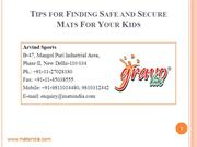 Tips for Finding Safe and Secure  Mats For